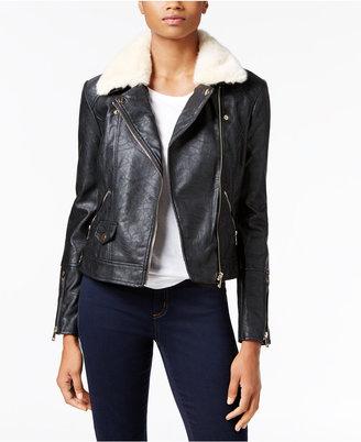 Buffalo David Bitton Faux-Fur-Trim Faux-Leather Jacket $99 thestylecure.com