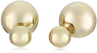 Kenneth Jay Lane 8mm Front and 14mm Back Gold Ball Post Stud Earrings by
