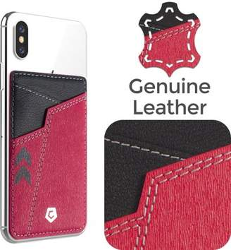Samsung Stick-On Genuine Leather Card Holder Adhesive Add on Pocket Phone Wallet by Cobble Pro for Apple iPhone XS X 8 7 6s Plus SE LG Stylo 3 G7 G6 G5 S9 S9+ S8 S8+ Coolpad Canvas Defiant Toronto Red