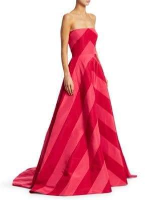 Carolina Herrera Strapless Chevron Stripe Silk Gown