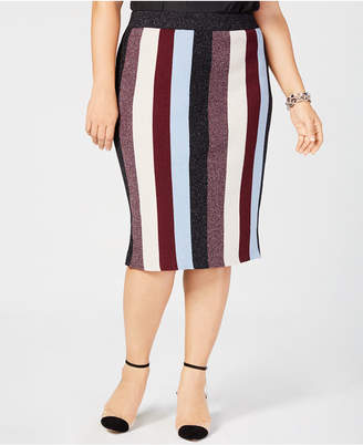 INC International Concepts I.n.c. Plus Size Metallic Striped Skirt