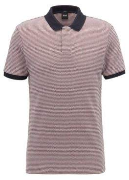 BOSS Hugo Slim-fit polo shirt three-colored micro pattern L Dark Red