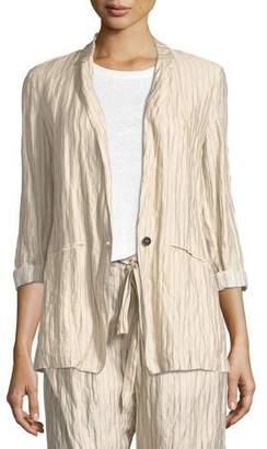 Giada Forte Crinkle Pinstripe One-Button Jacket