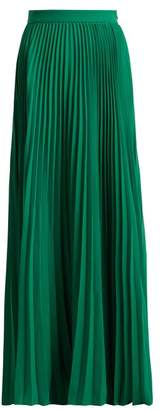 Adriana Degreas - Le Fleur Pleated Crepe Maxi Skirt - Womens - Green