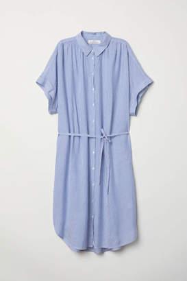 H&M Modal Shirt Dress - Dark blue/white striped - Women