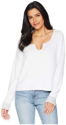 Three Dots Beach Terry Reversible Split-Neck Sweatshirt Women's Long Sleeve Pullover