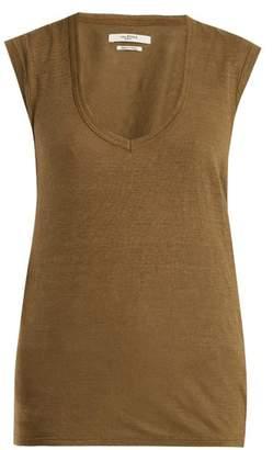 Etoile Isabel Marant Zanky Cap Sleeved Linen T Shirt - Womens - Khaki