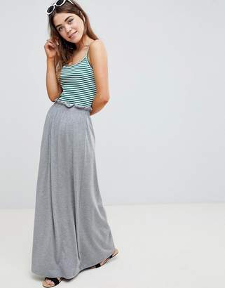 Asos DESIGN maxi skirt with paperbag waist in gray marl