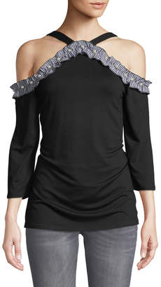 Neiman Marcus Ruffle-Trim Cold Shoulder Top