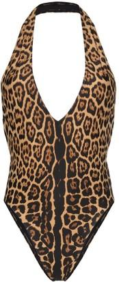Saint Laurent deep V neck leopard print bodysuit