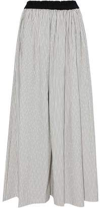 Brunello Cucinelli Pleated Pinstriped Cotton-Poplin Wide-Leg Pants