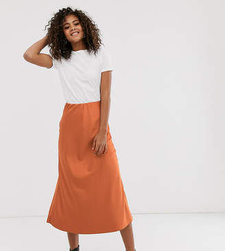 New Look Tall satin midi skirt in rust