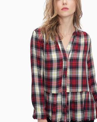 Splendid Edgware Plaid Crop Shirt with Fray