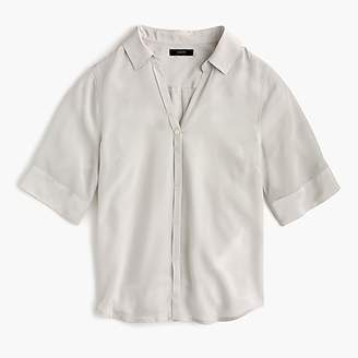 J.Crew Petite short-sleeve button-up shirt in silk