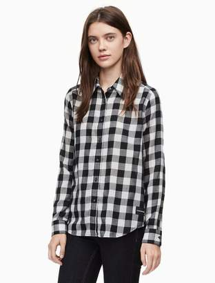 Calvin Klein flannel gingham button-down shirt