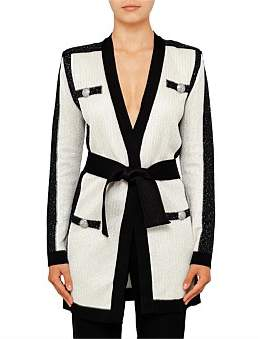 Balmain Bi Colour Long Wrap Cardigan