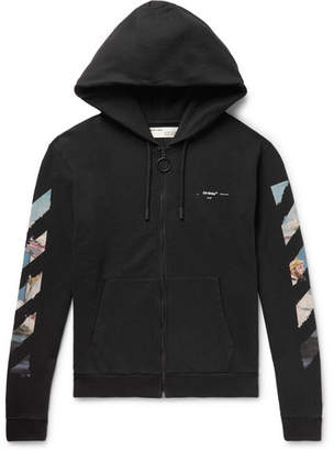 Off-White Off White Logo-Print Loopback Cotton-Jersey Zip-Up Hoodie - Men - Black