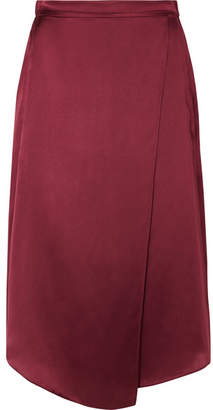 Vince Wrap-effect Silk-satin Midi Skirt - Merlot