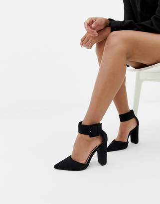 Glamorous buckle block heeled pumps in black
