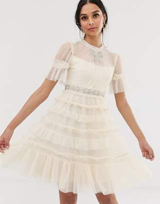Needle & Thread bridal embellished bow midi dress in cream