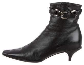 Prada Leather Pointed-Toe Ankle Boots