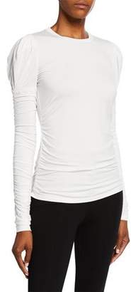 Elie Tahari Macy Long-Sleeve Ruched Knit Top