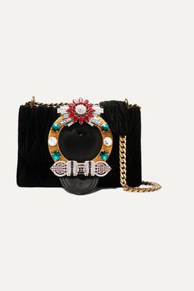 Miu Miu Miu Lady Crystal-embellished Leather And Matelasse Velvet Shoulder Bag
