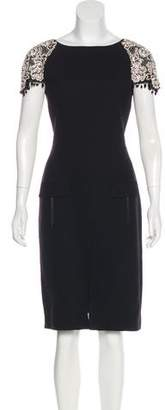 Oscar de la Renta Embellished Virgin Wool Dress