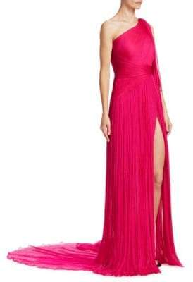 Pamella Roland Pleated One-Shoulder Gown