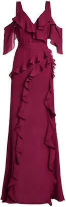 Elie Saab Floor Length Silk Gown with Ruffles