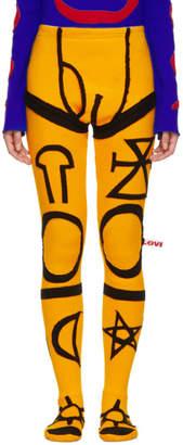 Charles Jeffrey Loverboy Yellow and Black Pyjama Tights