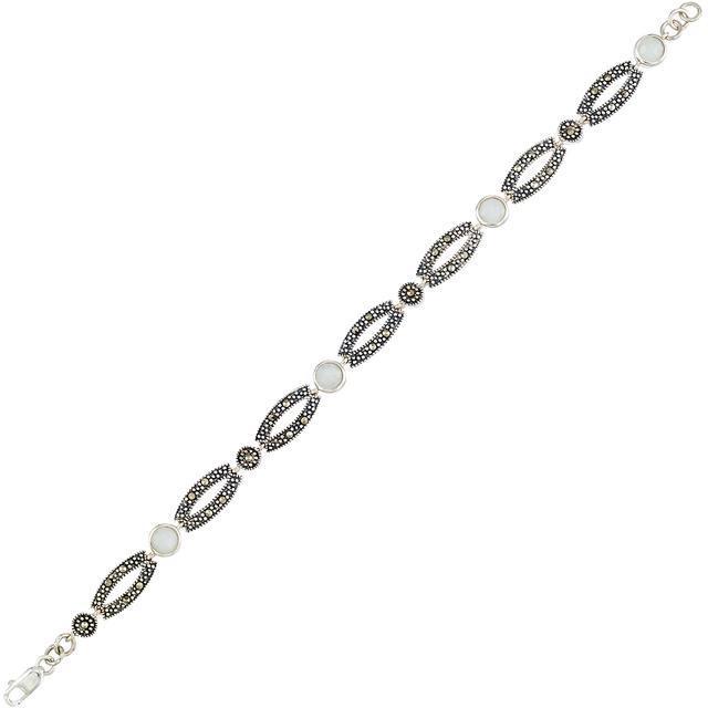 Victoria Crowne Sterling Silver Jade and Marcasite Vintage Style Link Bracelet