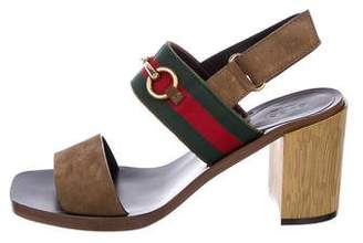 Gucci Horsebit Suede Slingback Sandals