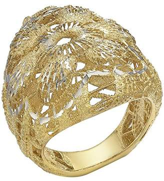 Carissima Gold 9 ct Two-Tone Gold Diamond Cut Lace Style Dome Ring iuBZWlXy