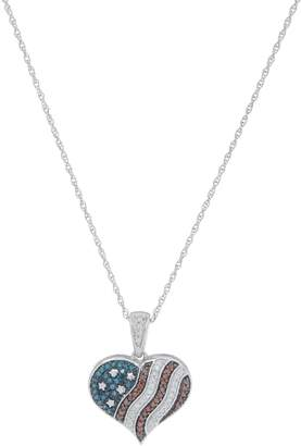 Affinity Diamond Jewelry Affinity Diamond Heart Flag Pendant with Chain, Sterling Silver