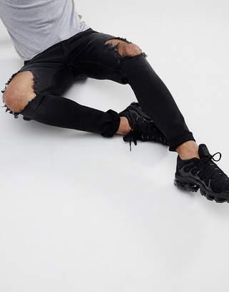 Hoxton Denim Super Skinny Jeans in Washed Black