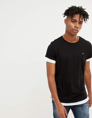 Jack and Jones Originals longline t-shirt with drop layer sleeves and hem