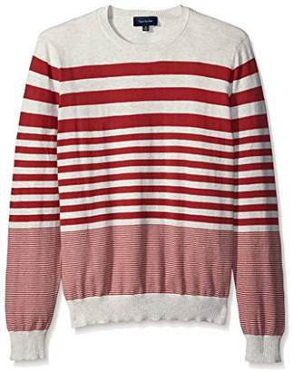 Thirty Five Kent Men's Brushed Cotton Long Sleeve Stripe Crew Neck Sweater