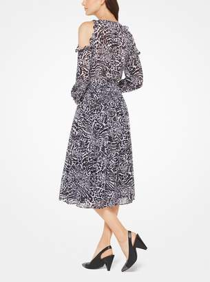 MICHAEL Michael Kors Animal-Print Chiffon Peekaboo Dress