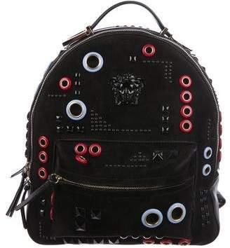 Versace Grommet Embellished Suede Backpack