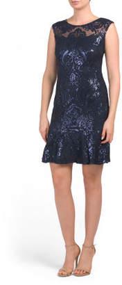 Sleeveless Sequin Lace Dress With Flounce Hem