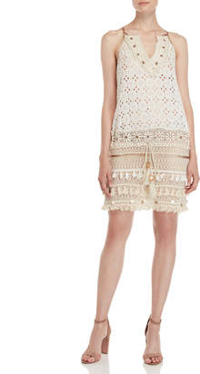 Ranee'S Eyelet Lace Tassel Cover-Up Dress