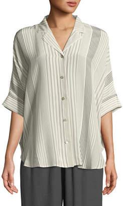 Eileen Fisher Striped Silk Half-Sleeve Shirt