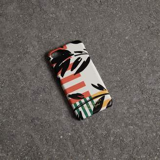 Burberry Floral Stripe Print Leather iPhone 8 Case