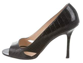 Manolo Blahnik Alligator Peep-Toe Pumps