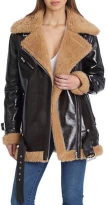 AVEC LES FILLES Faux Leather Sherpa-Trim Biker Jacket