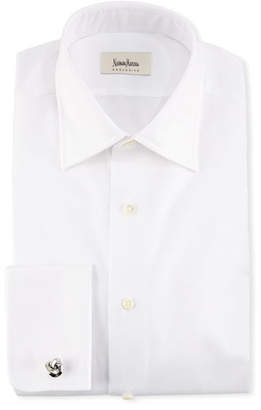 Neiman Marcus French-Cuff Solid Dress Shirt, White