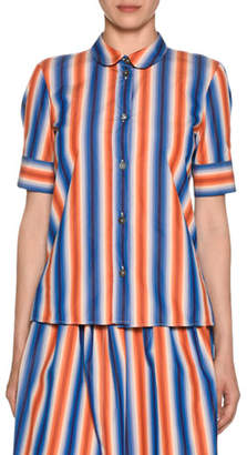 Marni Short-Sleeve Button-Front Striped Cotton Poplin Blouse