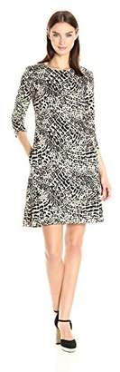 Nine West Women's 3/4 SLV Swing Dress W/Invisible Zipper