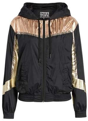 Pam & Gela Metallic Colorblock Hooded Windbreaker